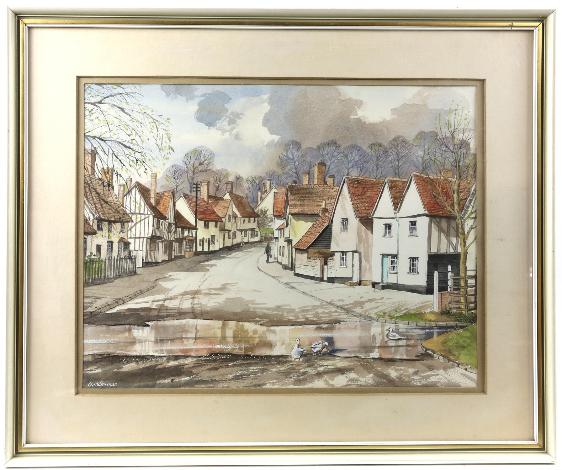 "Cyril Garman (20th Century British), ""Sailing Barges, Deben Estuary"", watercolour, signed, - Image 4 of 9"