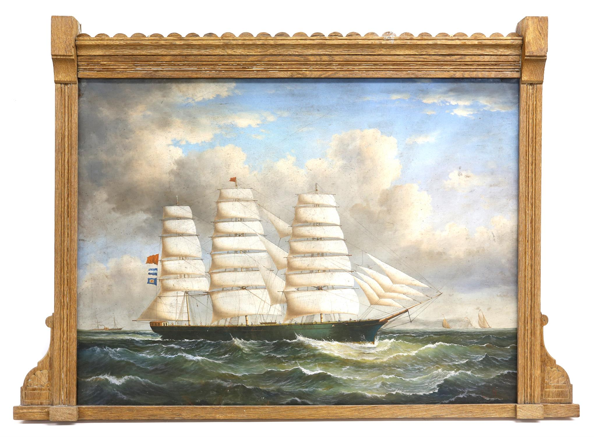 Attributed to George Mears (British, 1826-1906). Sailing ship in a swell. Initialled G M lower - Image 2 of 4