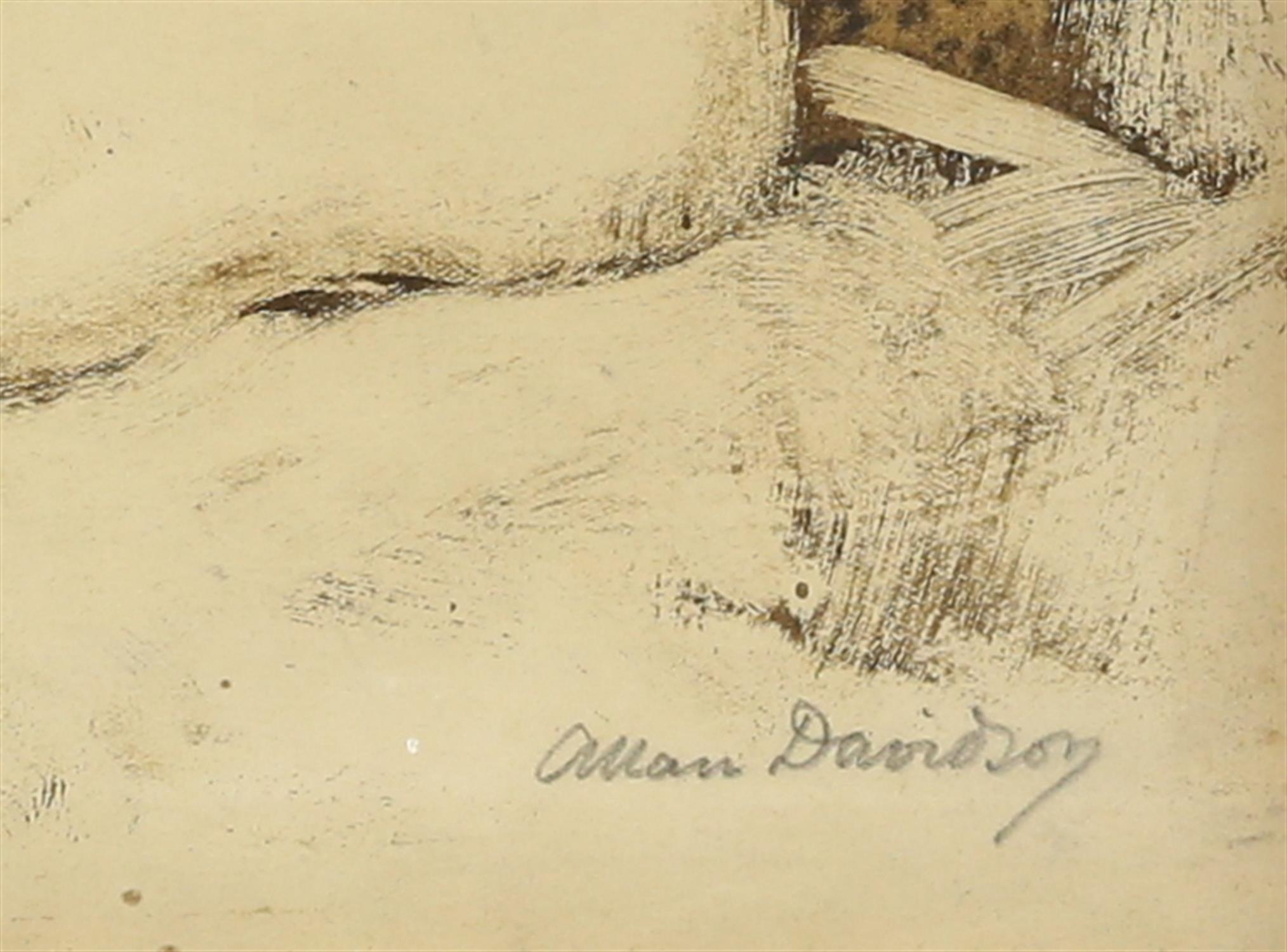 Allan Davidson (British, 1873-1932), seated nude, signed, oil on paper, 22cm x 16.5cm, - Image 3 of 4