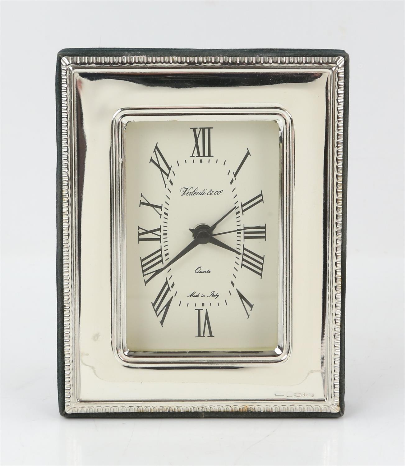 Continental silver framed clock by Valenti and Co - Image 2 of 4