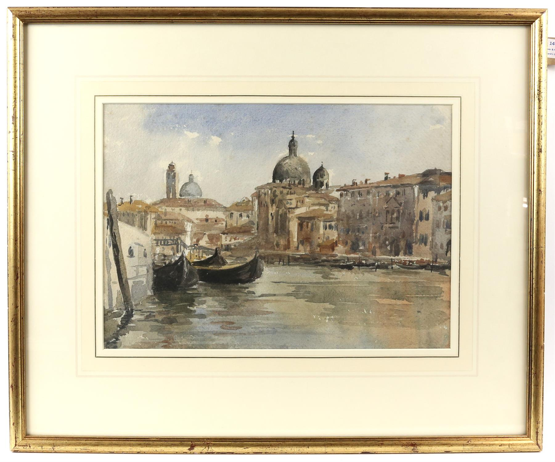 Attributed to Sir Charles W. D'Oyly (British, 1781-1845). The Grand Canal, Venice. Watercolour. - Image 2 of 3