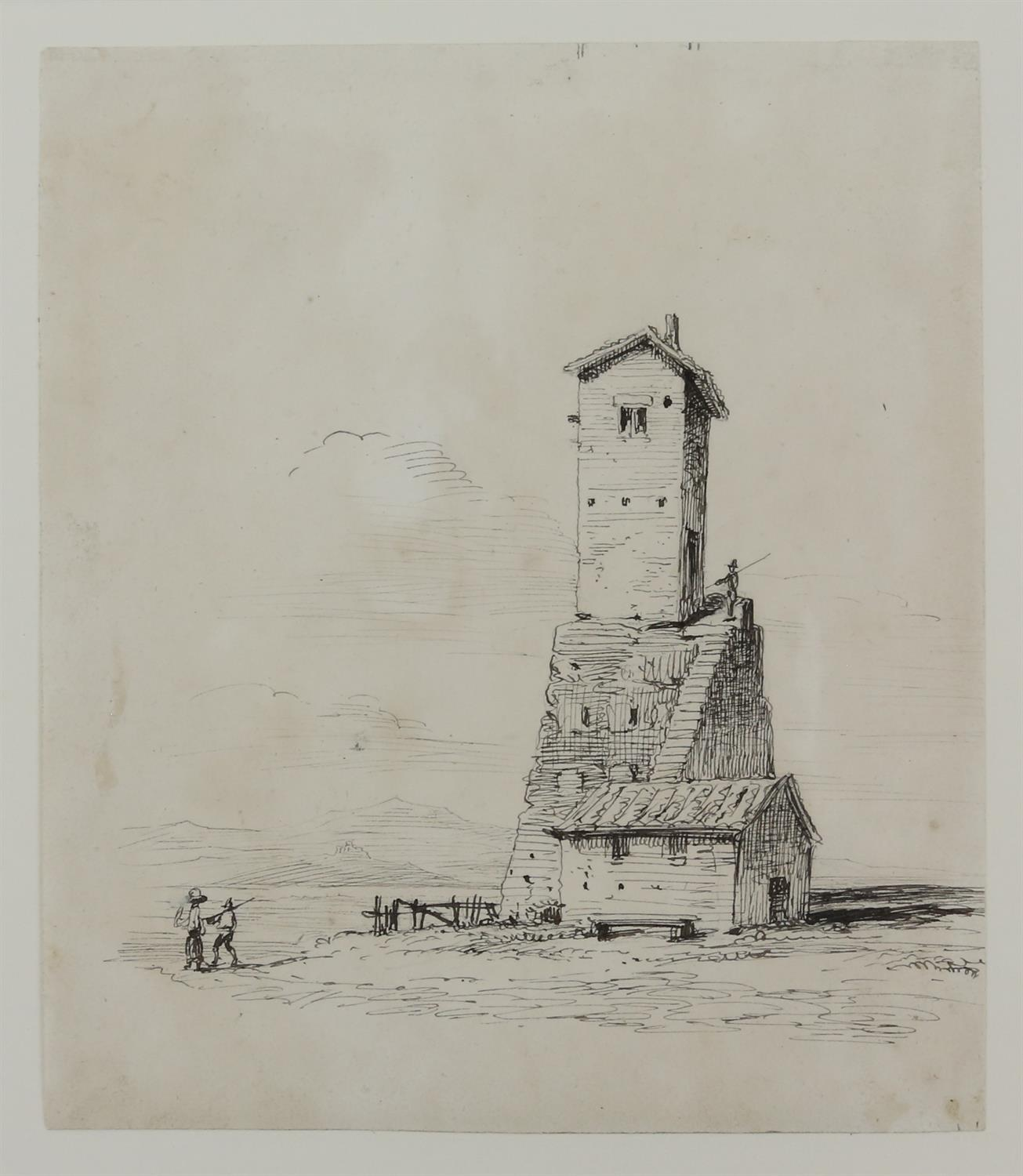 19th century scene with a castle and figures before the moat, sepia wash, 9.5cm x 15. - Image 8 of 8