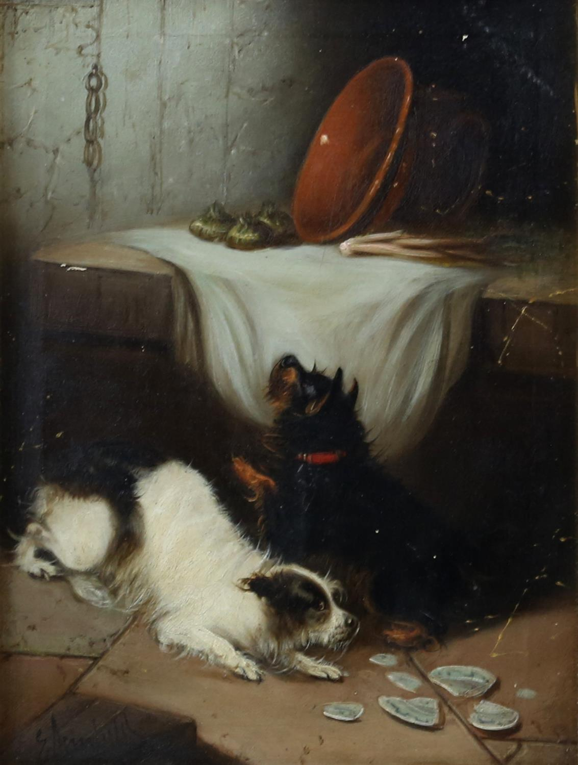 Edward Armfield (British, 1817-1896) 'Waiting for Master'; and 'Terriers Misbehaving', both signed, - Image 2 of 9