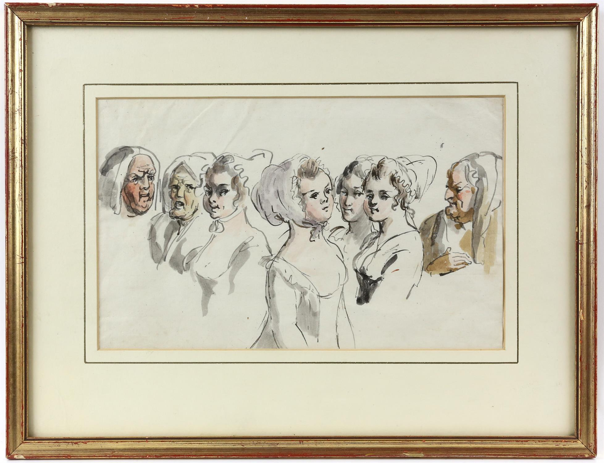 19th century Continental School, seven head studies of ladies, ink and watercolour, 16.5cm x 26.5cm, - Image 2 of 3