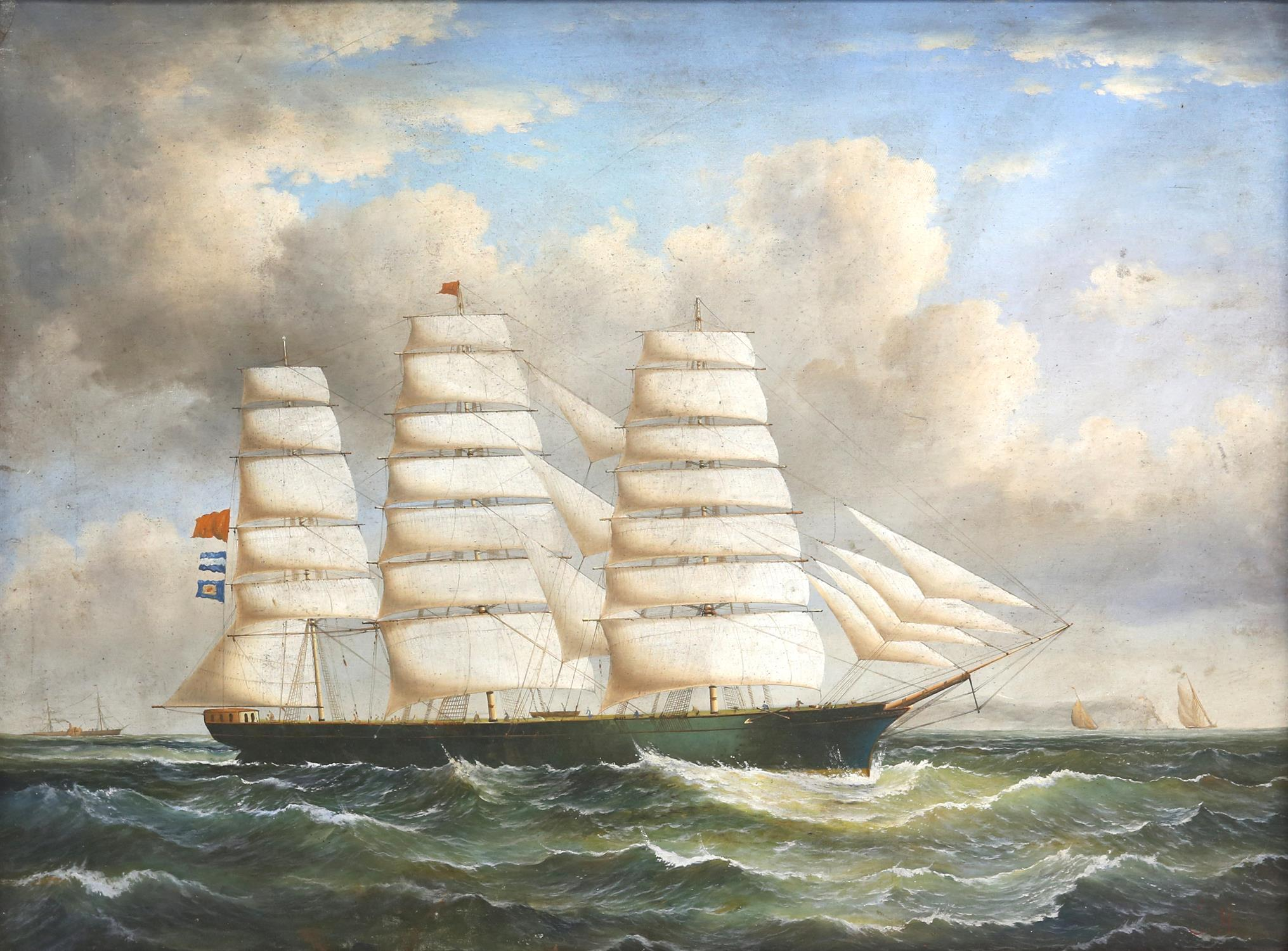 Attributed to George Mears (British, 1826-1906). Sailing ship in a swell. Initialled G M lower