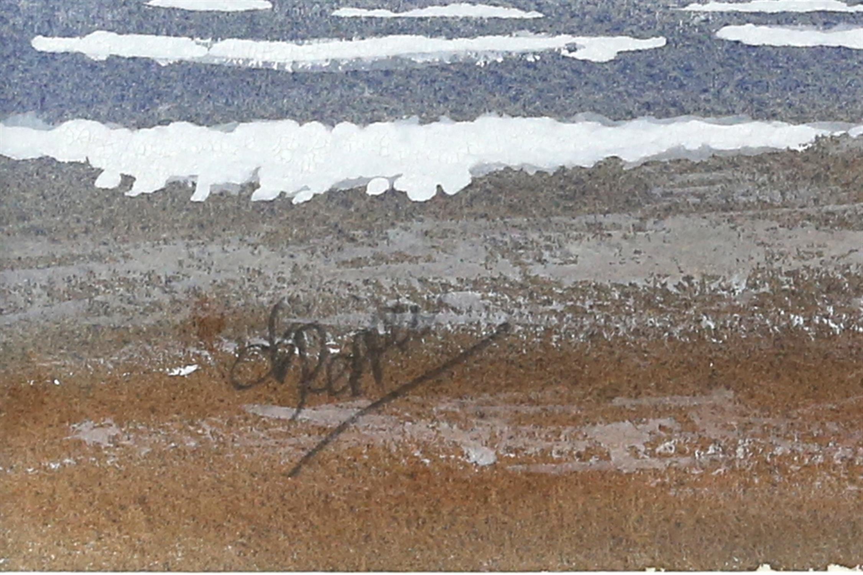 Derek Pepper, British 20th century, dog walk on the beach, signed, watercolour, 13.5cm x 21cm, - Image 3 of 4