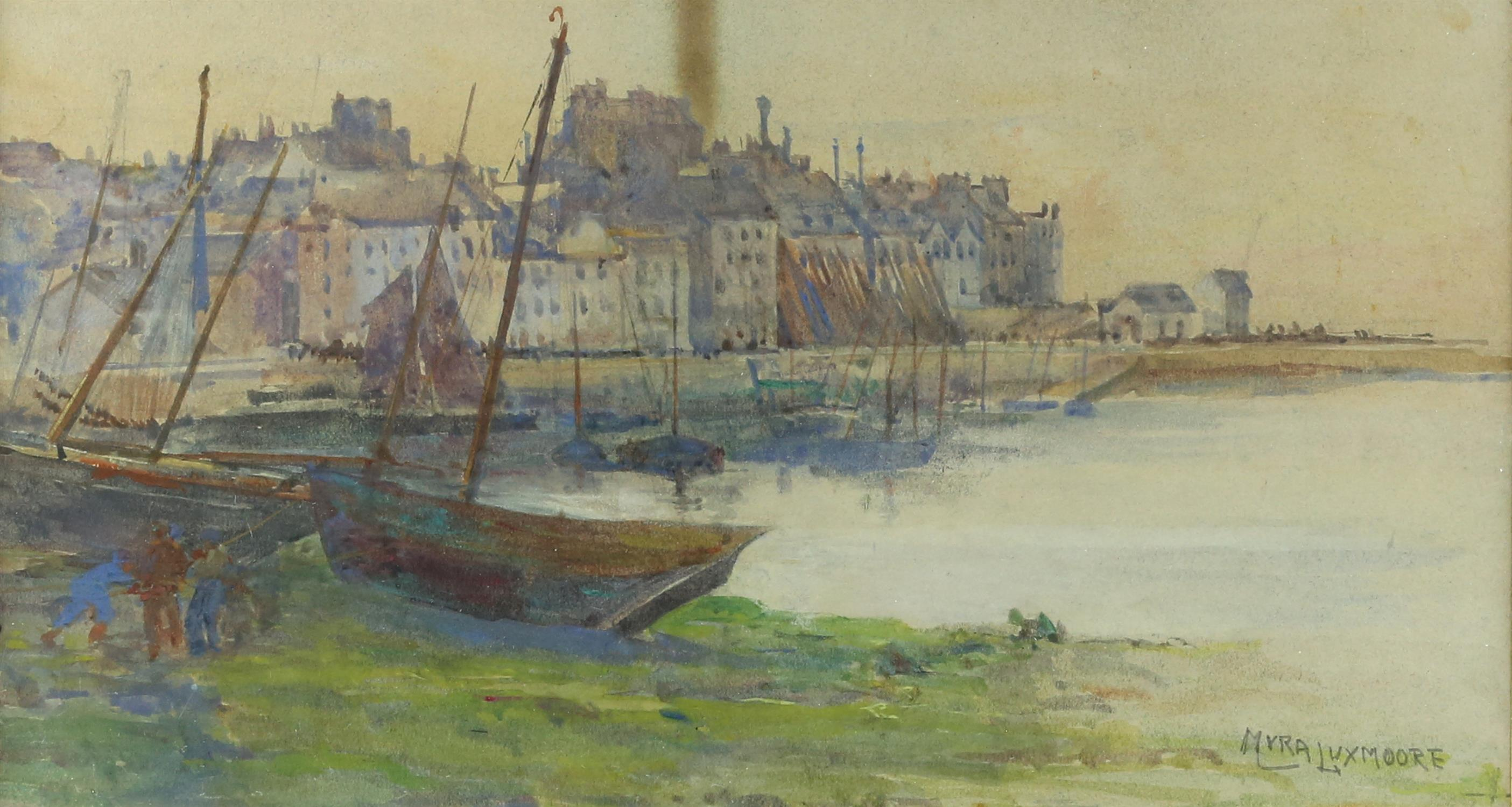 Myra Elizabeth Luxmoore (1860-1918), harbour scene,Watercolour, 18cm x 33cm, and two early 20th
