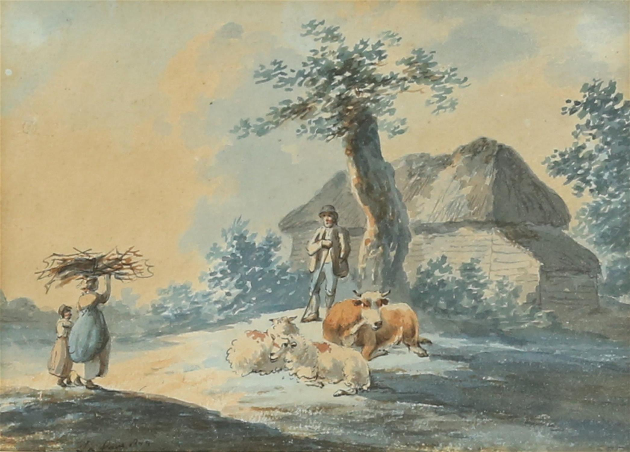 Peter La Cave, act. c. 1769-1816, 'Shepherd conversing with woman and child gathering twigs',