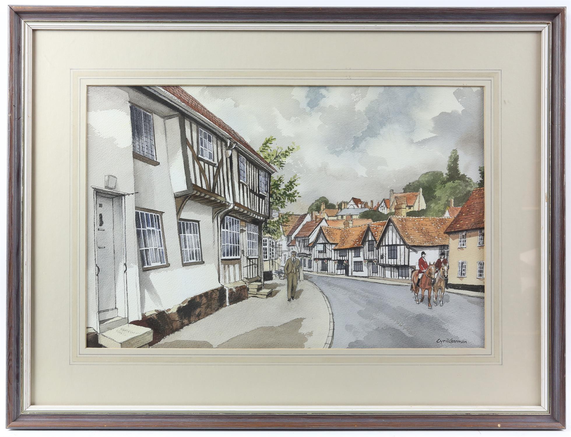 "Cyril Garman (20th Century British), ""Sailing Barges, Deben Estuary"", watercolour, signed, - Image 6 of 9"