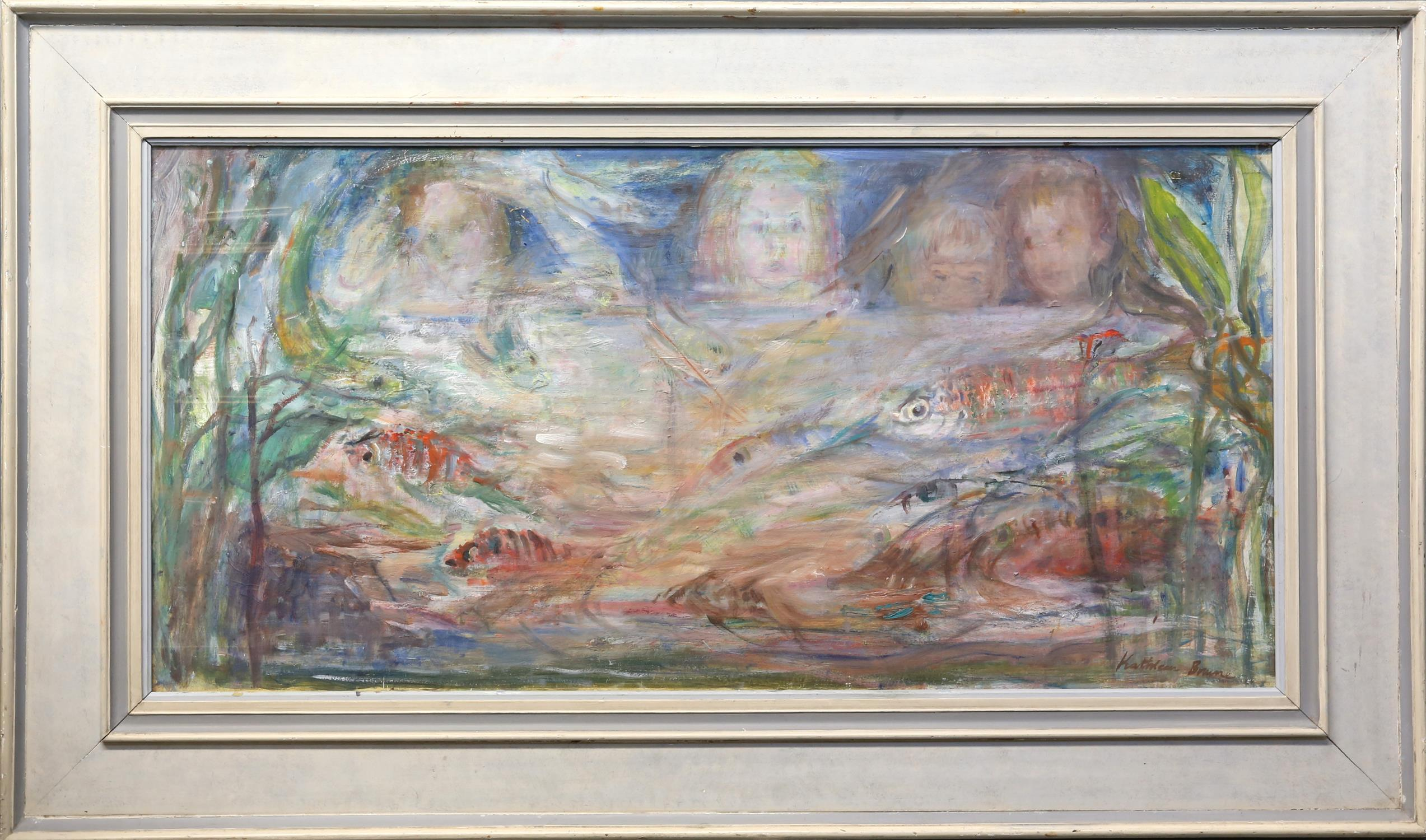 Kathleen Brown (British, 1905-2007). 'The Fish Tank'. Oil on board, Signed lower right and verso. - Image 2 of 2