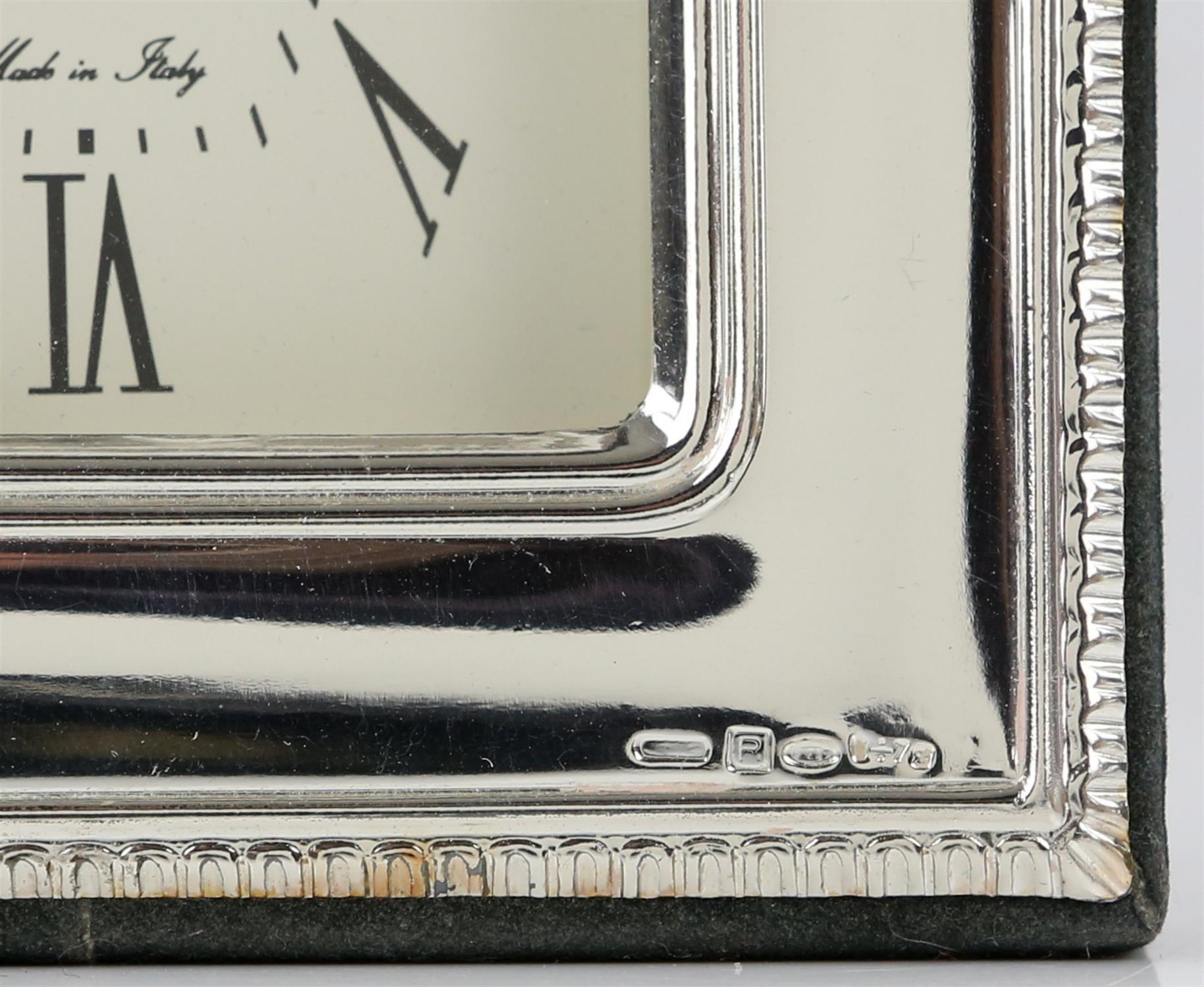 Continental silver framed clock by Valenti and Co - Image 4 of 4