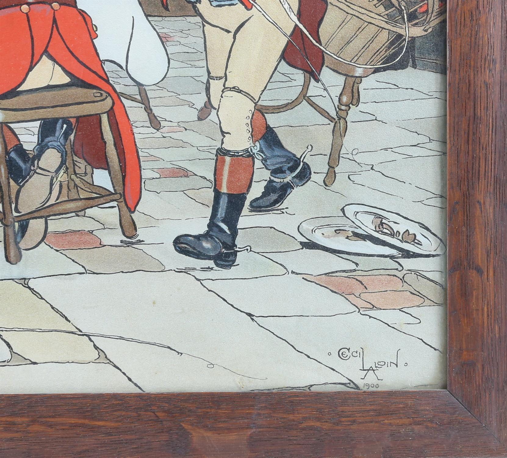 After Cecil Aldin, print of huntsmen in a tavern, 37 x 60.5cm, - Image 3 of 3