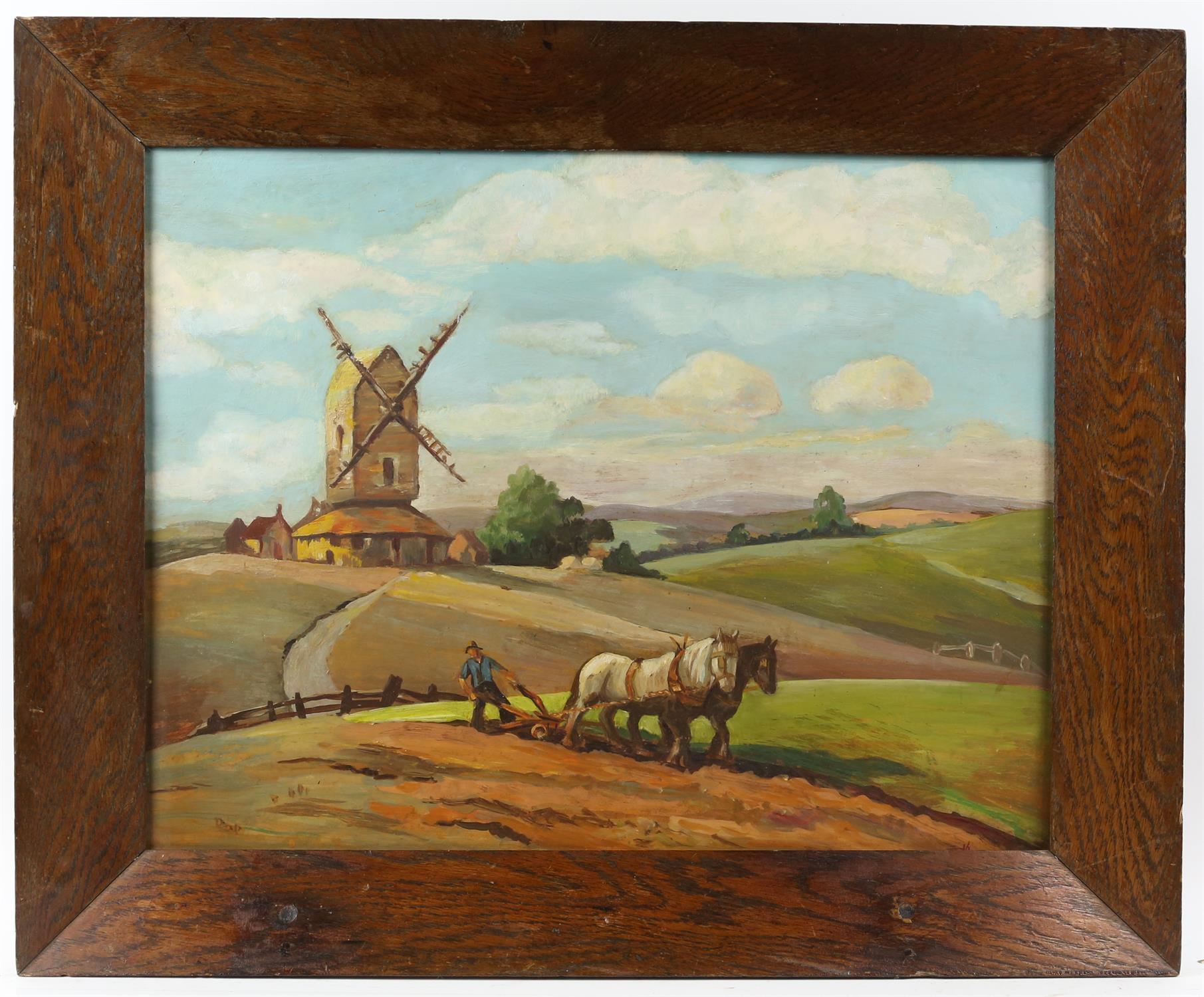 'JM'. (British School 19/20th Century). Plough team near a windmill. Oil on board, - Image 2 of 4