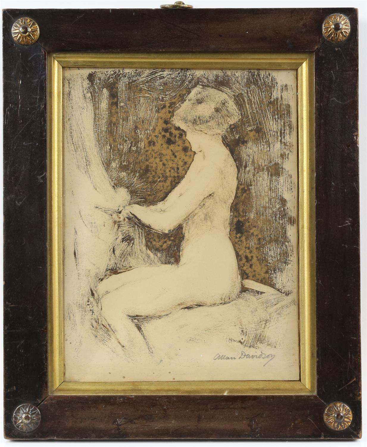 Allan Davidson (British, 1873-1932), seated nude, signed, oil on paper, 22cm x 16.5cm, - Image 2 of 4