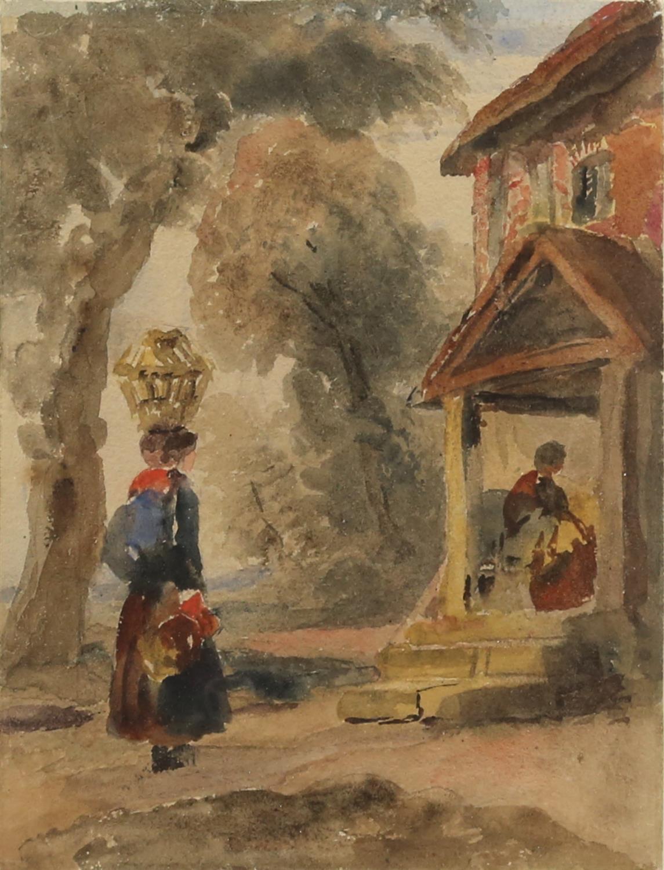 Peter de Wint (British, 1784-1849), figures outside a cottage, watercolour, 22.5cm x 17.5cm,