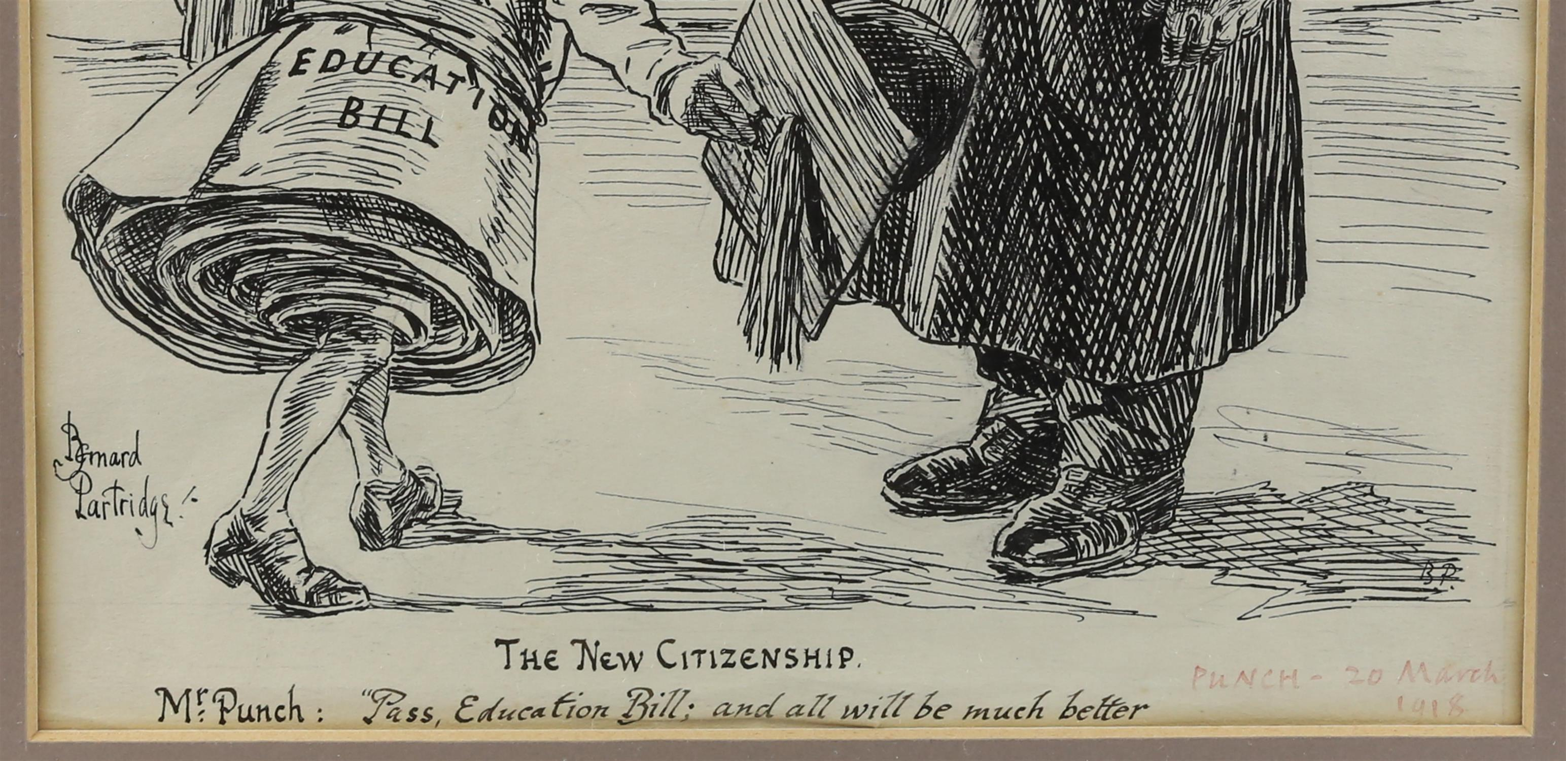 """Bernard Partridge (British, 1861-1945), 'The New Citizenship - Mr Punch: """"Pass, Education Bill; and - Image 3 of 3"""