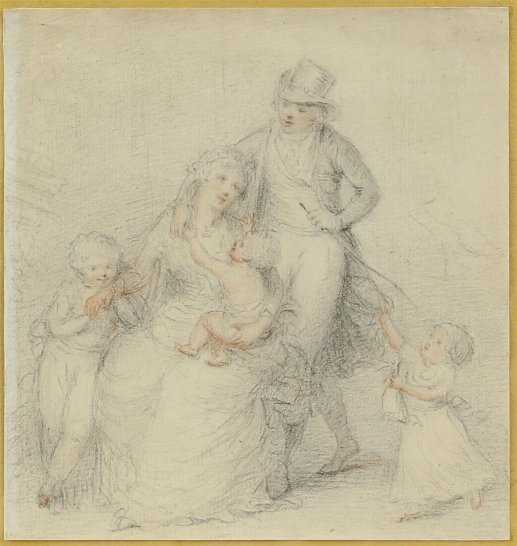 Peltro William Tompkins (British, 1760-1840), 'The Tompkins family', pencil and coloured chalk,
