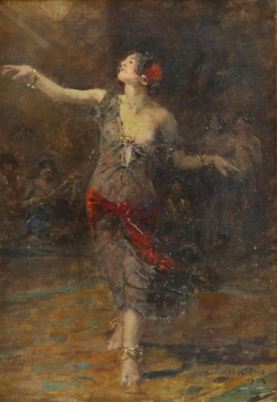 Edward Matthew Hale (British, 1852-1924). Portrait of a dancing woman with musicians beyond.