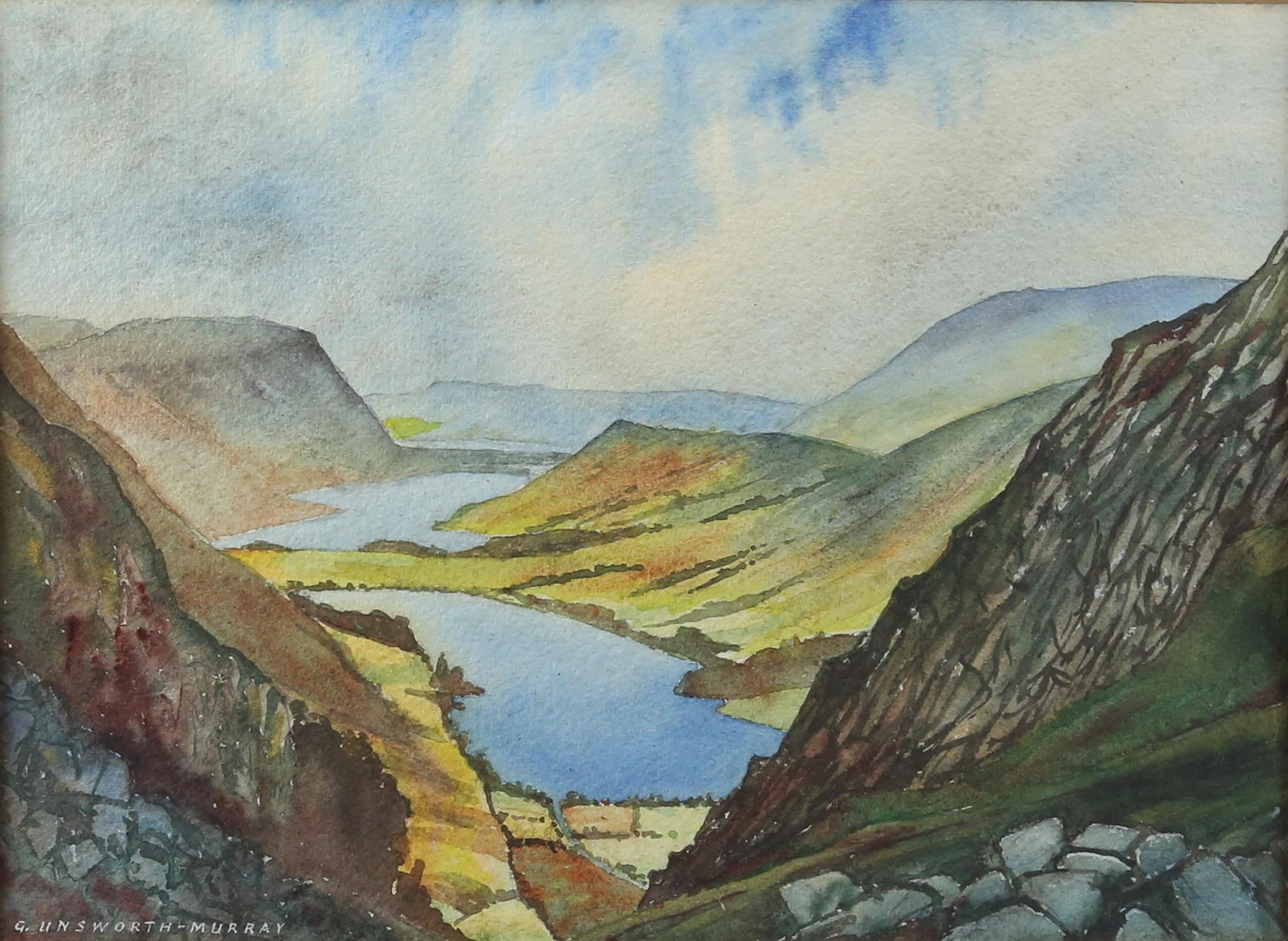 G Unsworth-Murray, British 20th century, 'Buttermere and Crummock Water', signed, watercolour, 26.