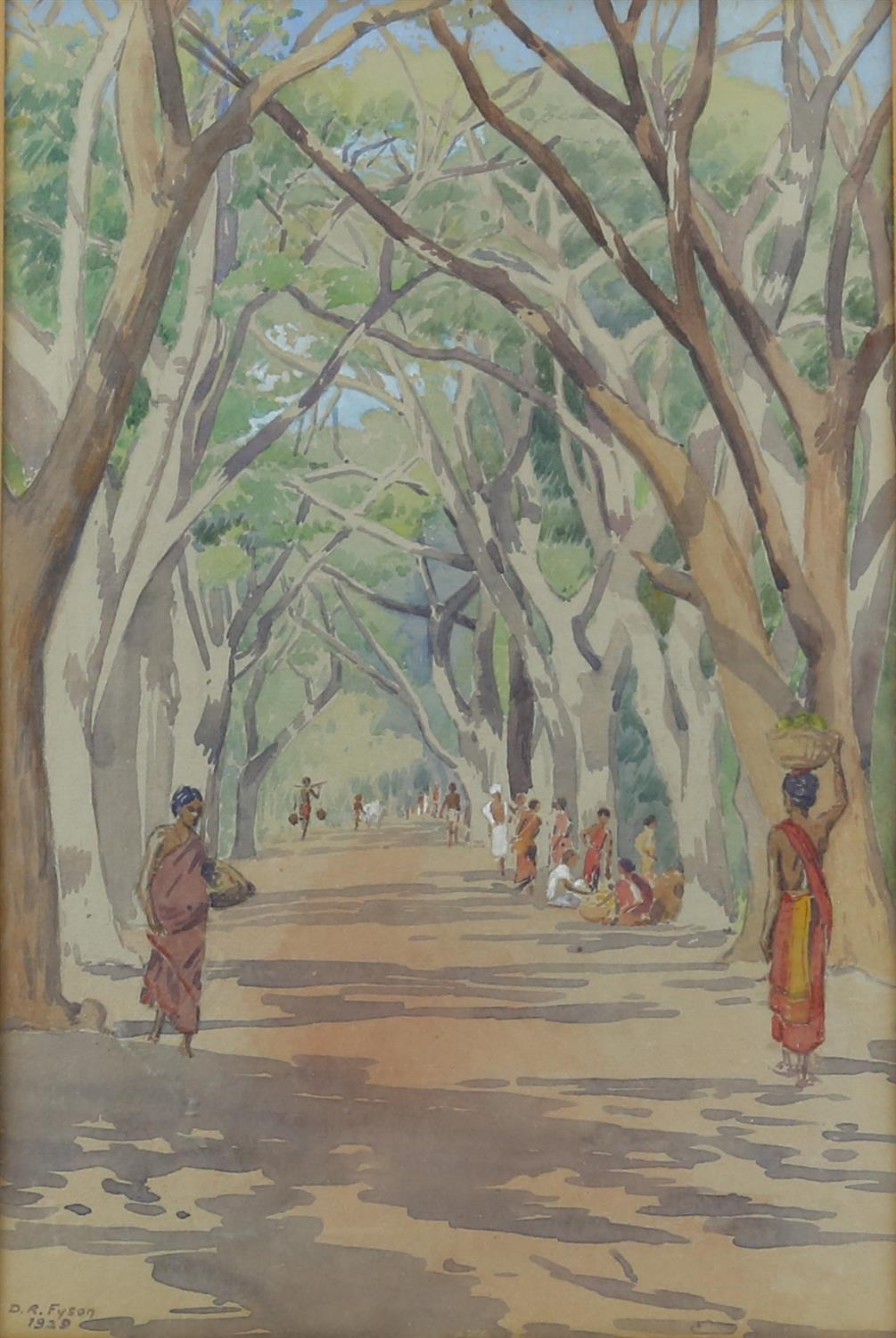 D R Fyson, British 1886-1947, Indian tree covered road with figures, signed and dated 1929,