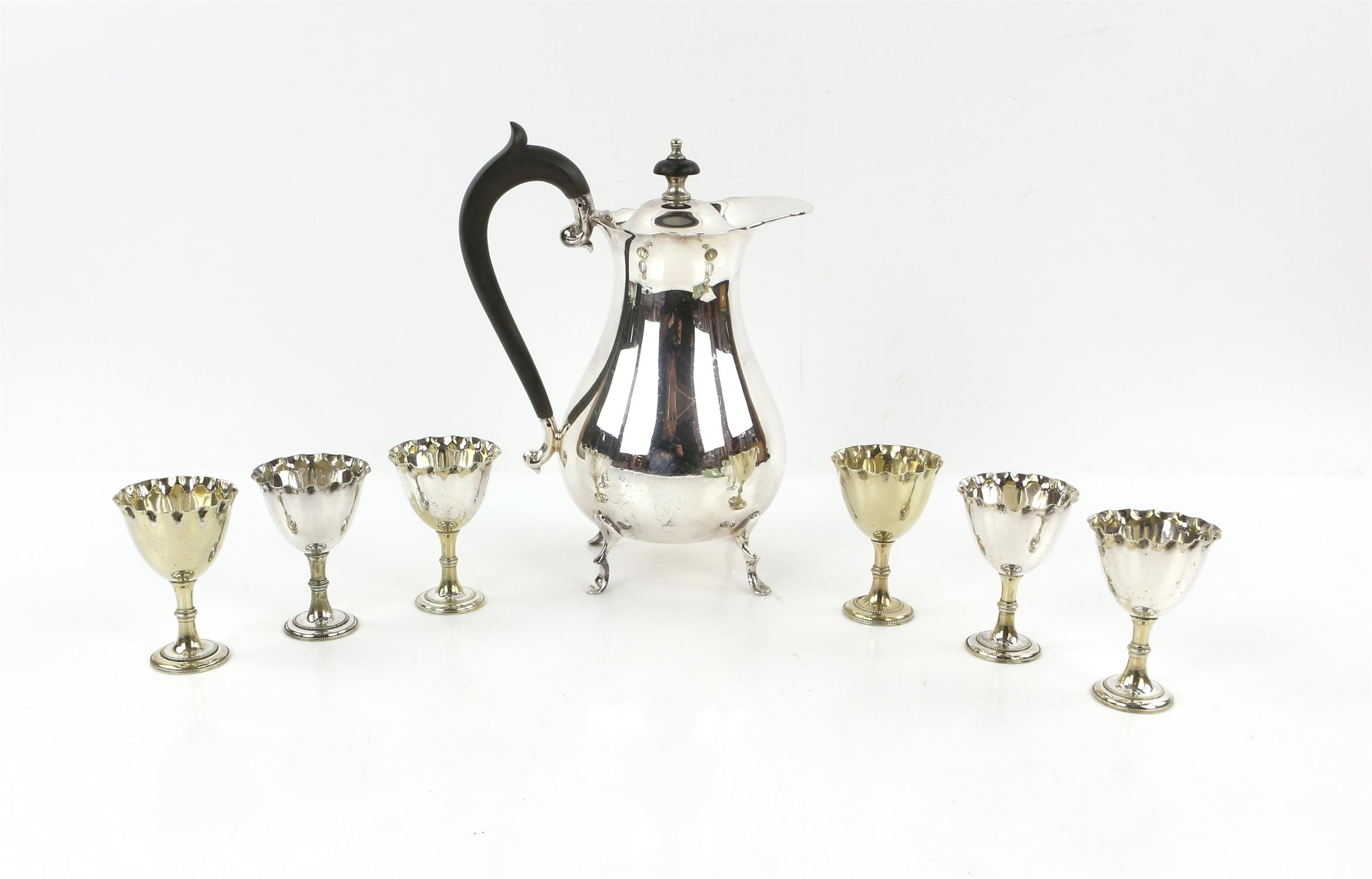 Pair of three light silver plated candelabra by Elkington & Co. ,fruit stand, water jug, egg cups, - Image 3 of 5