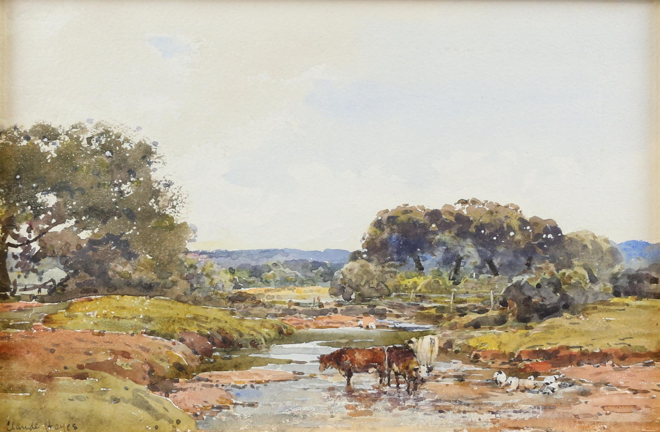 Claude Hayes (British, 1852-1922), landscape with cattle watering at a stream, signed, watercolour,