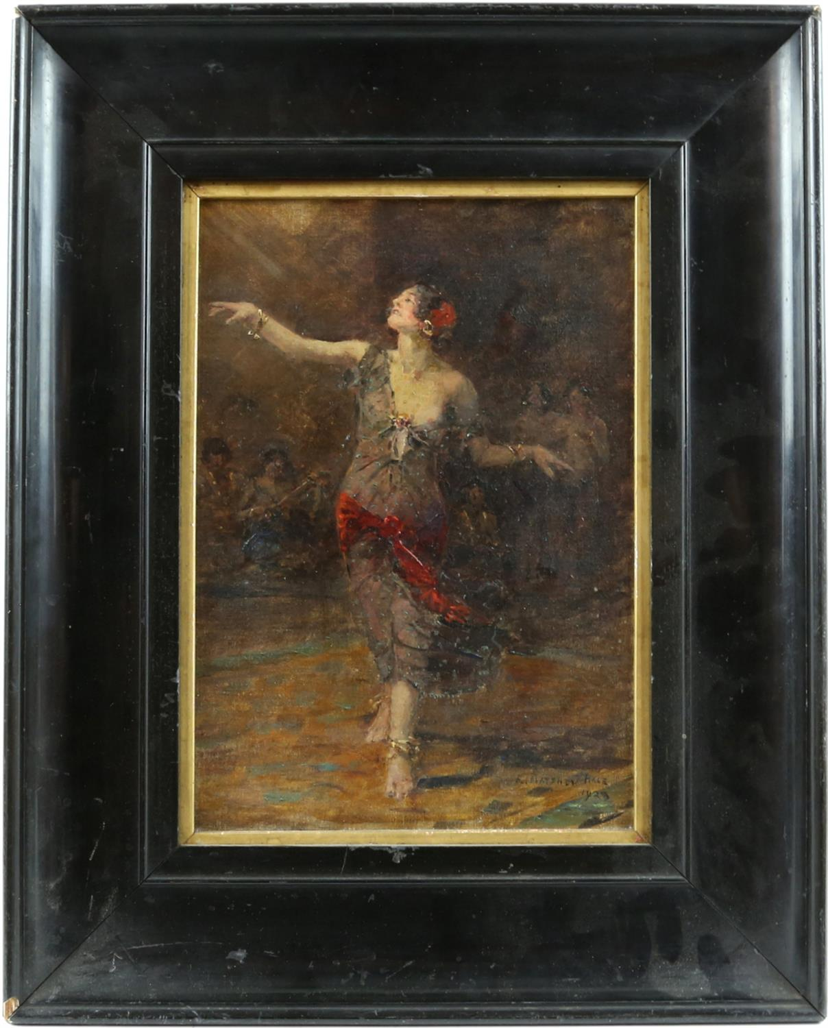 Edward Matthew Hale (British, 1852-1924). Portrait of a dancing woman with musicians beyond. - Image 2 of 3