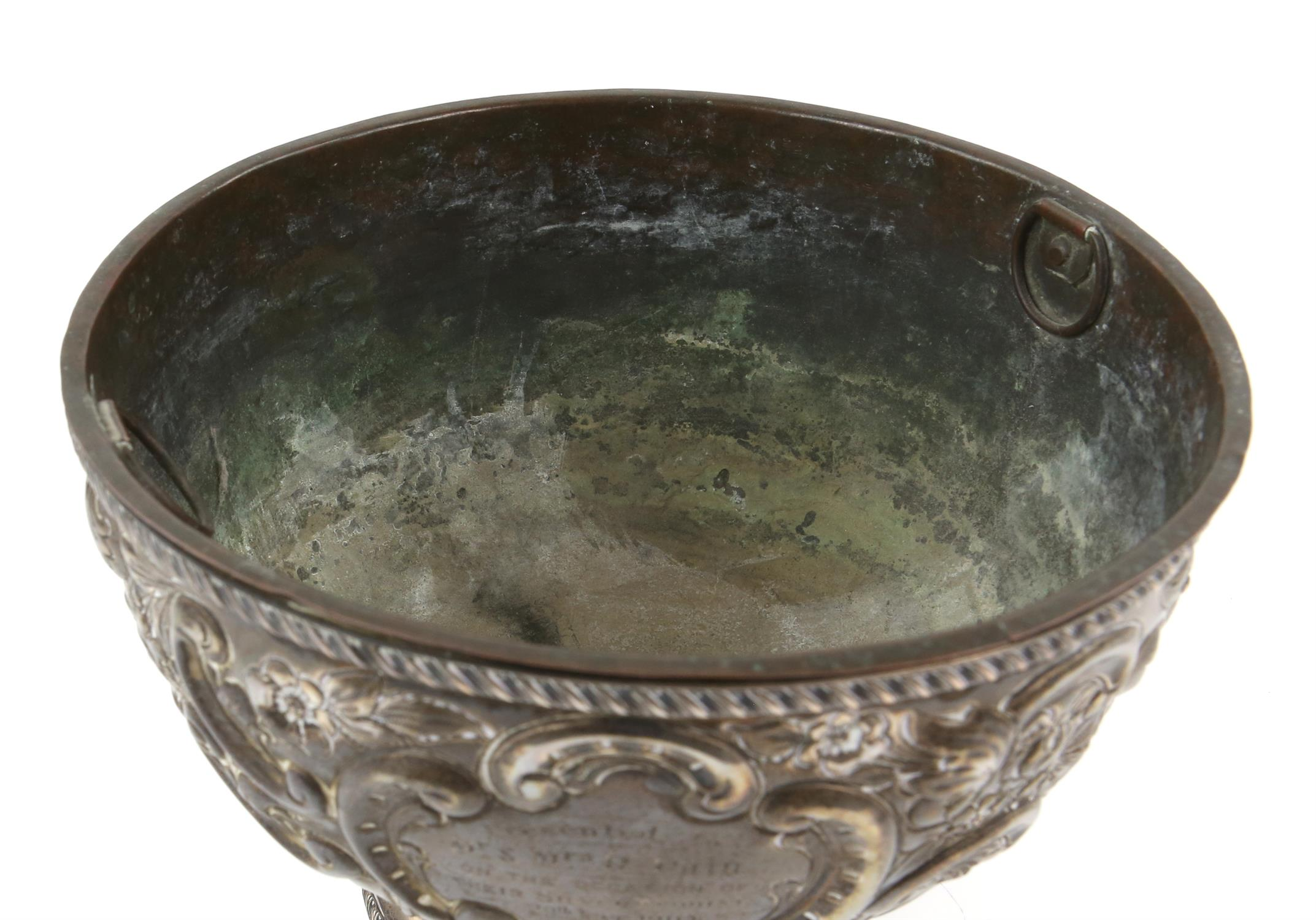 Edward VII silver presentation footed bowl of circular form with floral repousse decoration and - Image 6 of 7