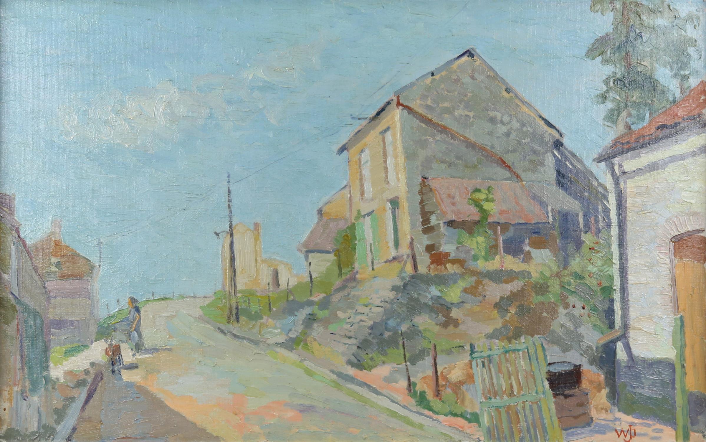Willem Jans Dijk, Dutch 1881-1970, 'Waulsort, Belgium', street scene with houses, monogrammed,