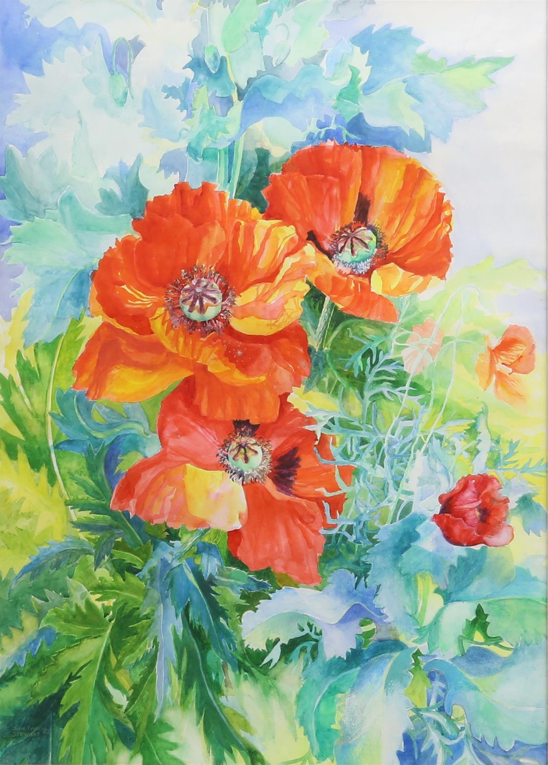 John Ivor Stewart (British, 1936-2017), poppies, signed and dated '82, watercolour, 71cm x 50cm,