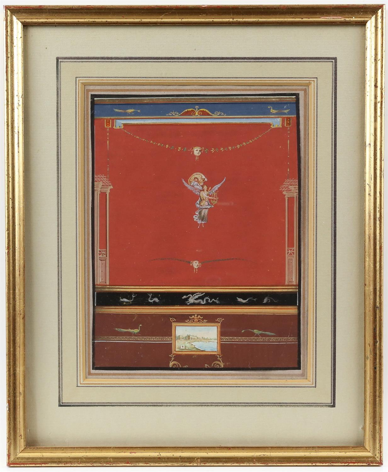 19th century Italian School, Pompeiian wall decoration for an interior, 22cm x 16.5cm, and another, - Image 4 of 7