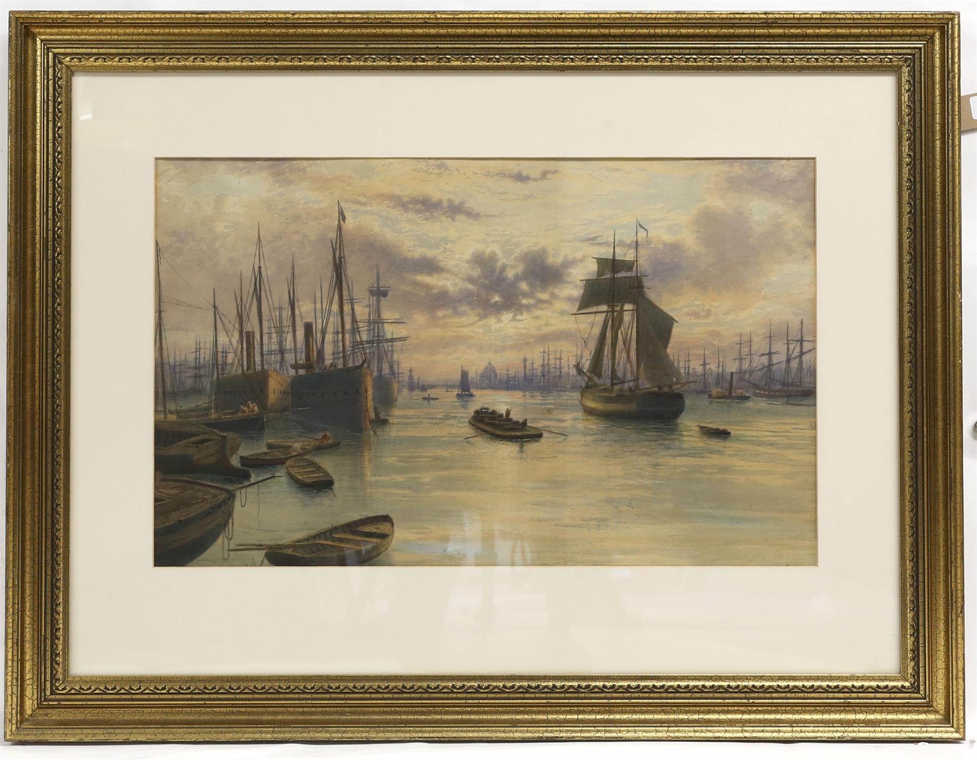 Frederick Miller (19th Century). Shipping on the Pool of London at dusk. Watercolour, - Image 2 of 2