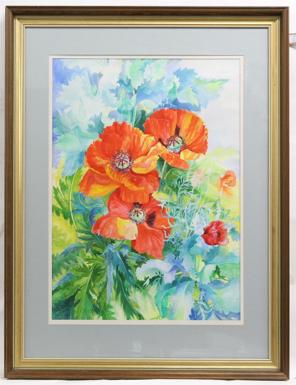 John Ivor Stewart (British, 1936-2017), poppies, signed and dated '82, watercolour, 71cm x 50cm, - Image 2 of 3