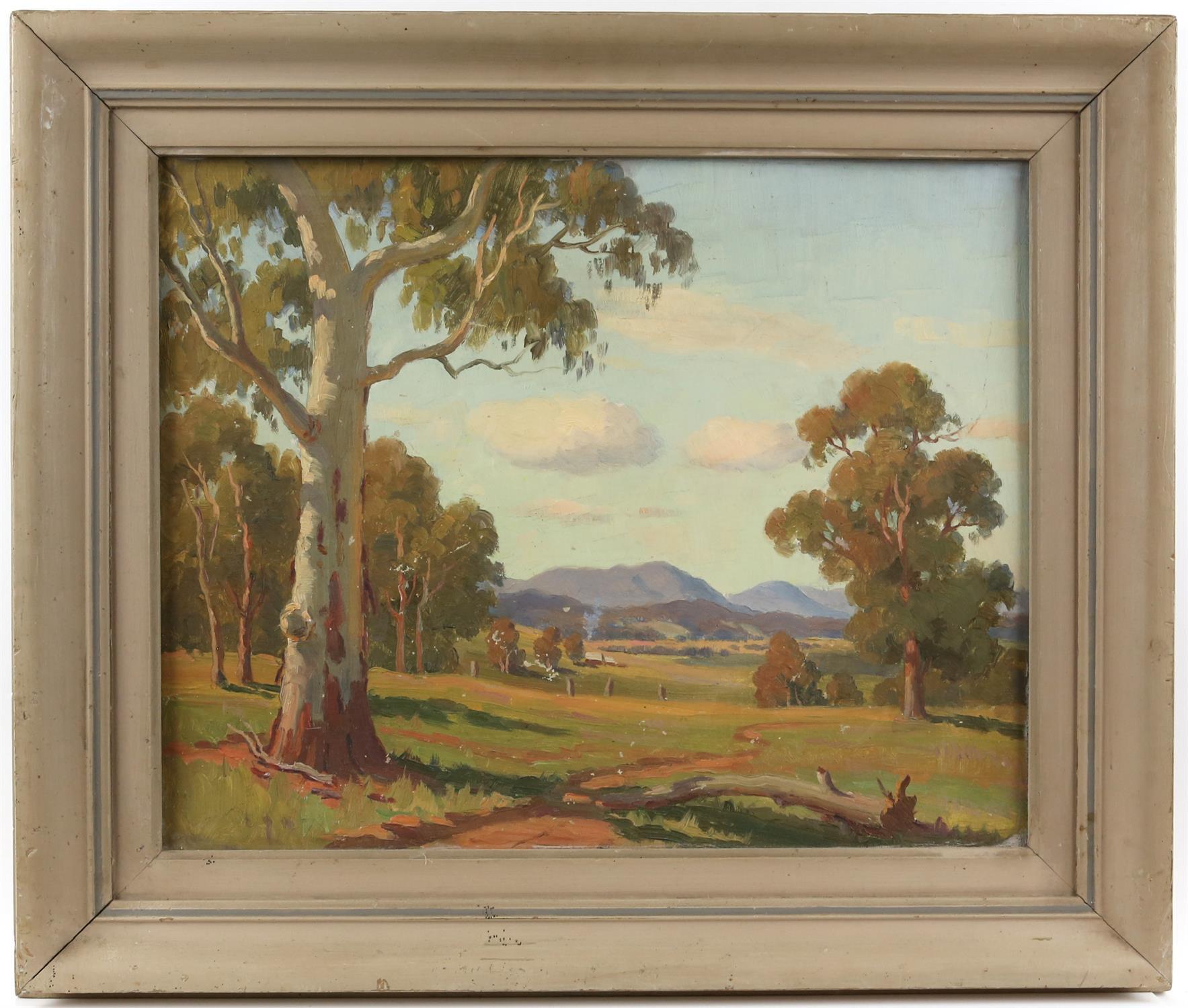 Australian School, landscape with gum trees, oil on canvas-board, 41cm x 51cm - Image 2 of 3