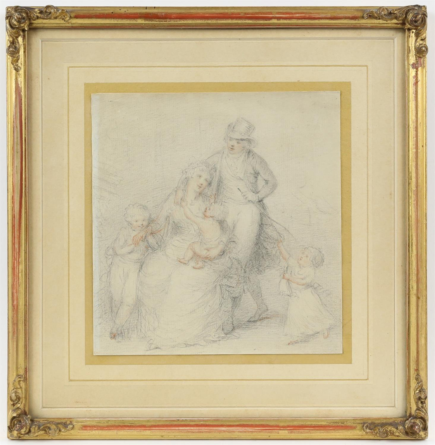 Peltro William Tompkins (British, 1760-1840), 'The Tompkins family', pencil and coloured chalk, - Image 2 of 3