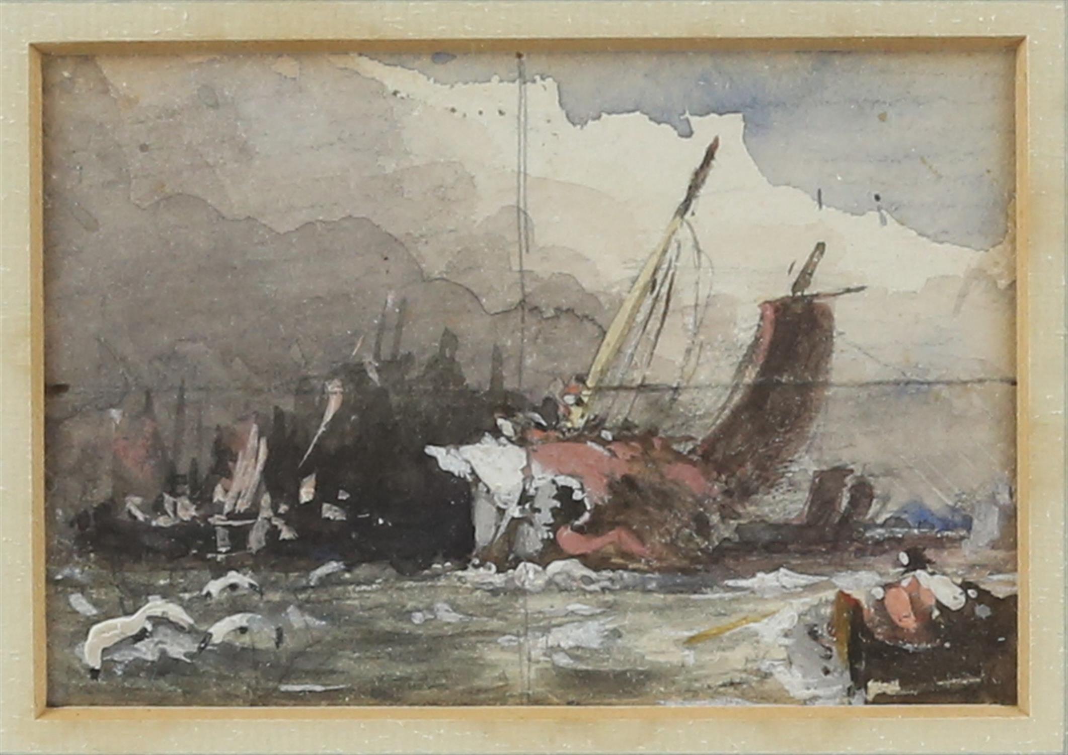 Attributed to Sir John Crampton (British, 1805-1886). Fishing boats on the beach, watercolour, - Image 2 of 3
