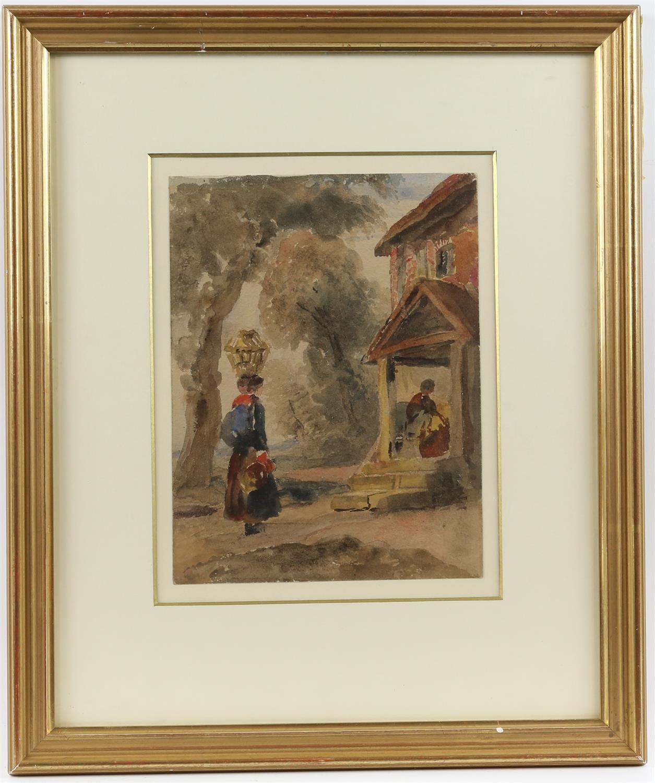 Peter de Wint (British, 1784-1849), figures outside a cottage, watercolour, 22.5cm x 17.5cm, - Image 2 of 3