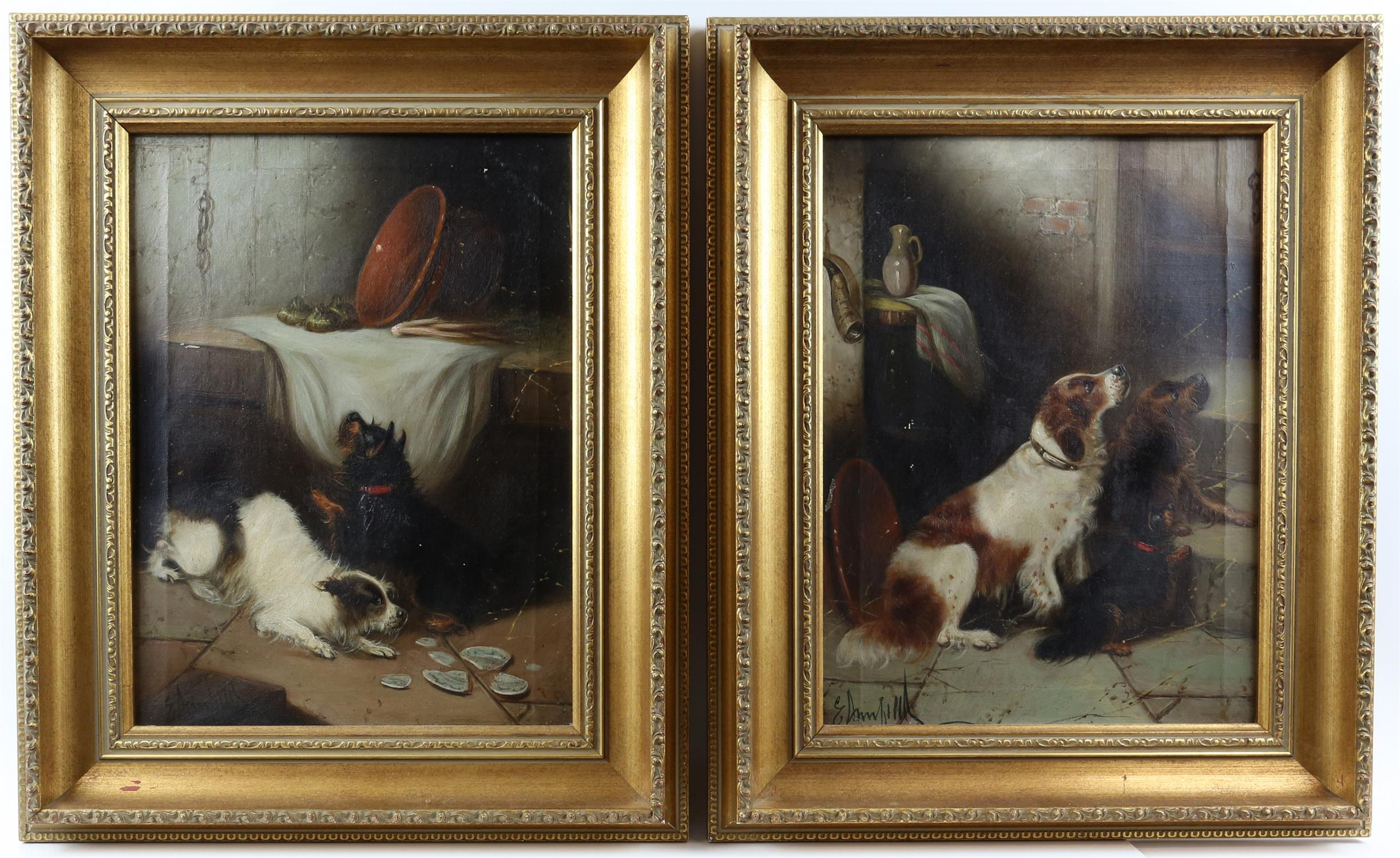 Edward Armfield (British, 1817-1896) 'Waiting for Master'; and 'Terriers Misbehaving', both signed,