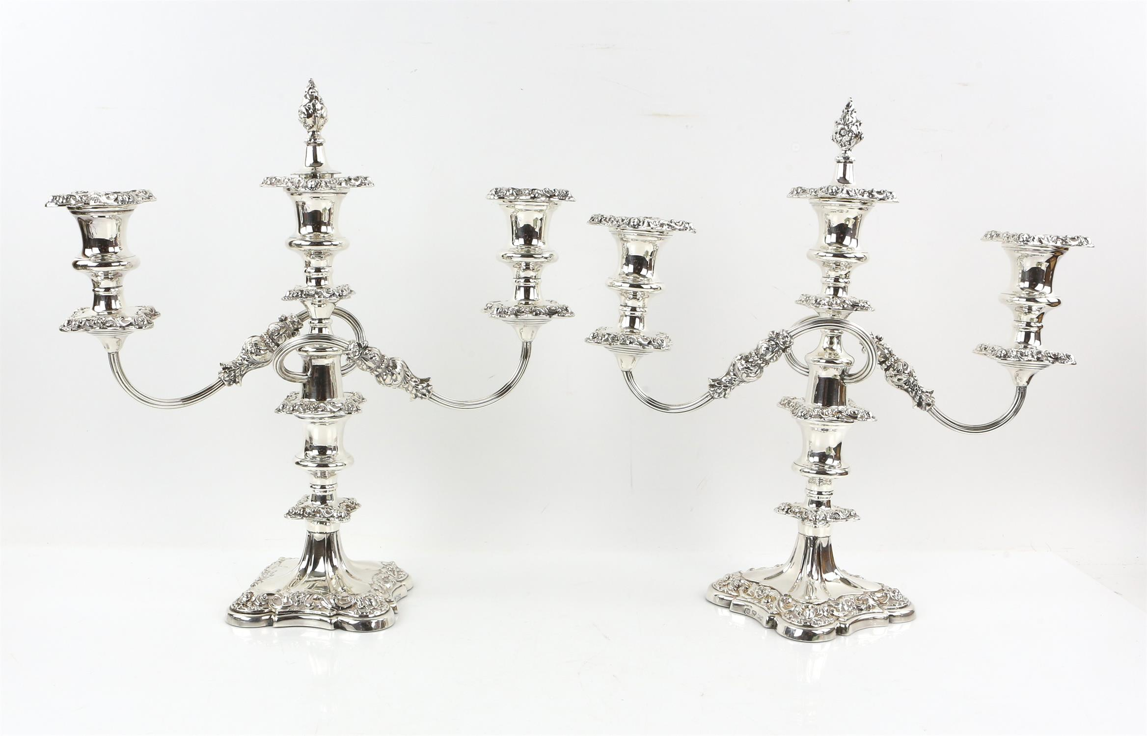Pair of three light silver plated candelabra by Elkington & Co. ,fruit stand, water jug, egg cups,