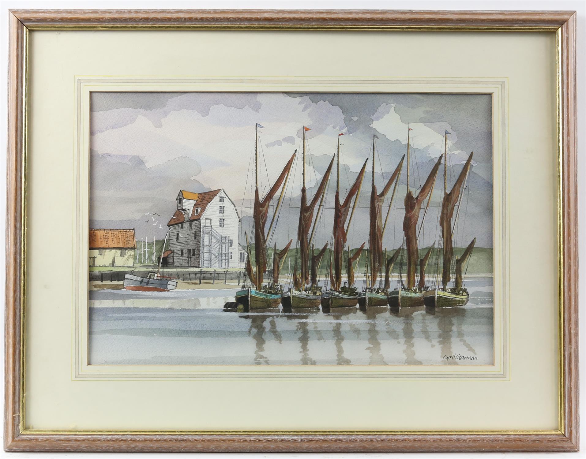 "Cyril Garman (20th Century British), ""Sailing Barges, Deben Estuary"", watercolour, signed, - Image 8 of 9"