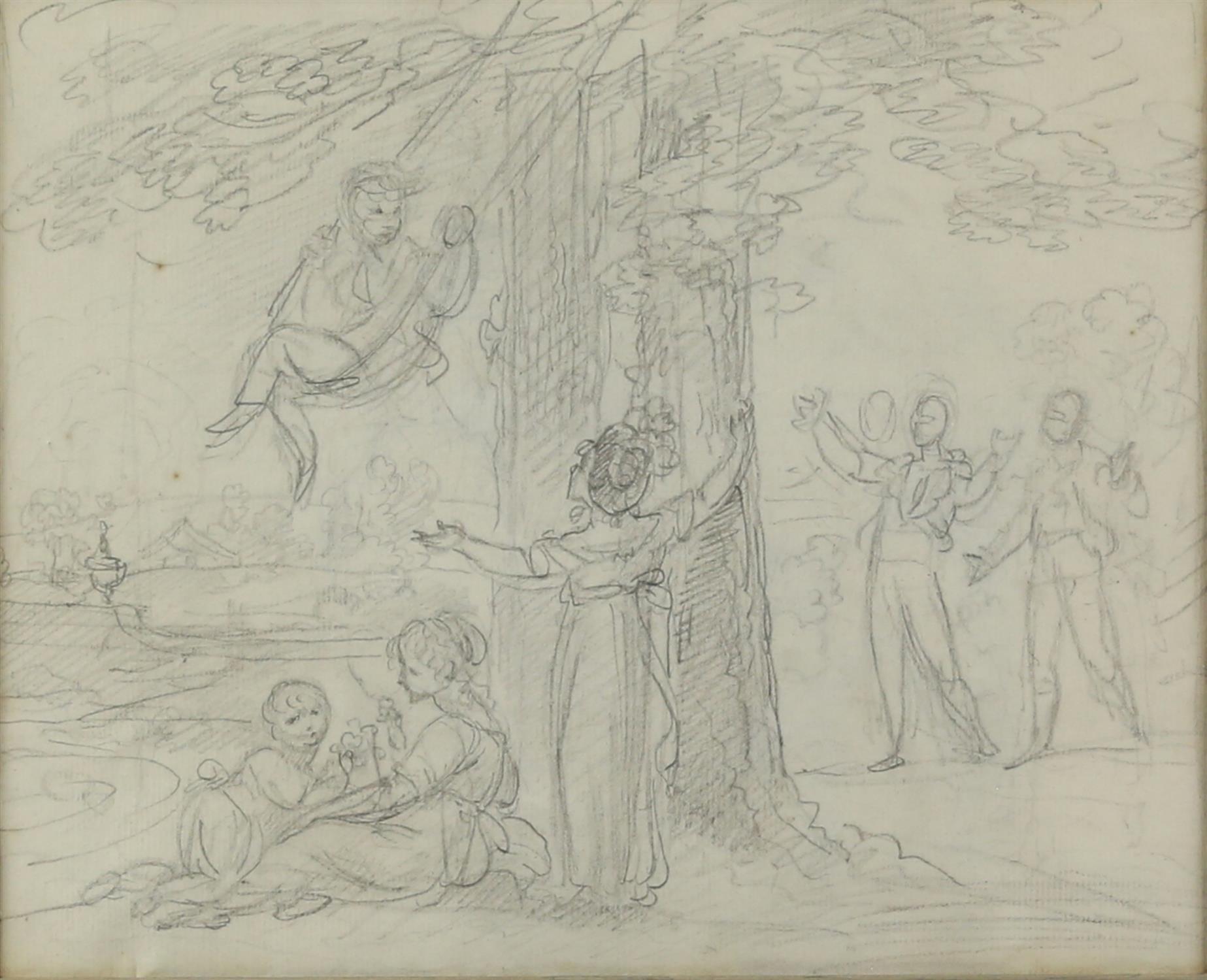 Maria Spilsbury (British, 1777- c. 1823), 'Swinging' pencil drawing, 18cm x 22.5cm,