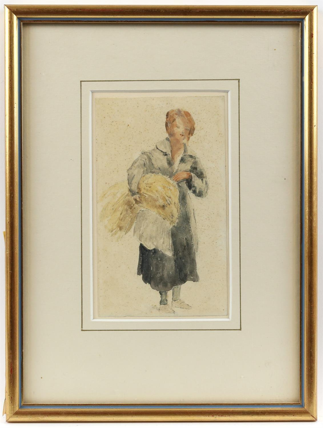 19th century English School, young woman carrying a sheath of corn, watercolour, 17.5cm x 10cm, - Image 2 of 3