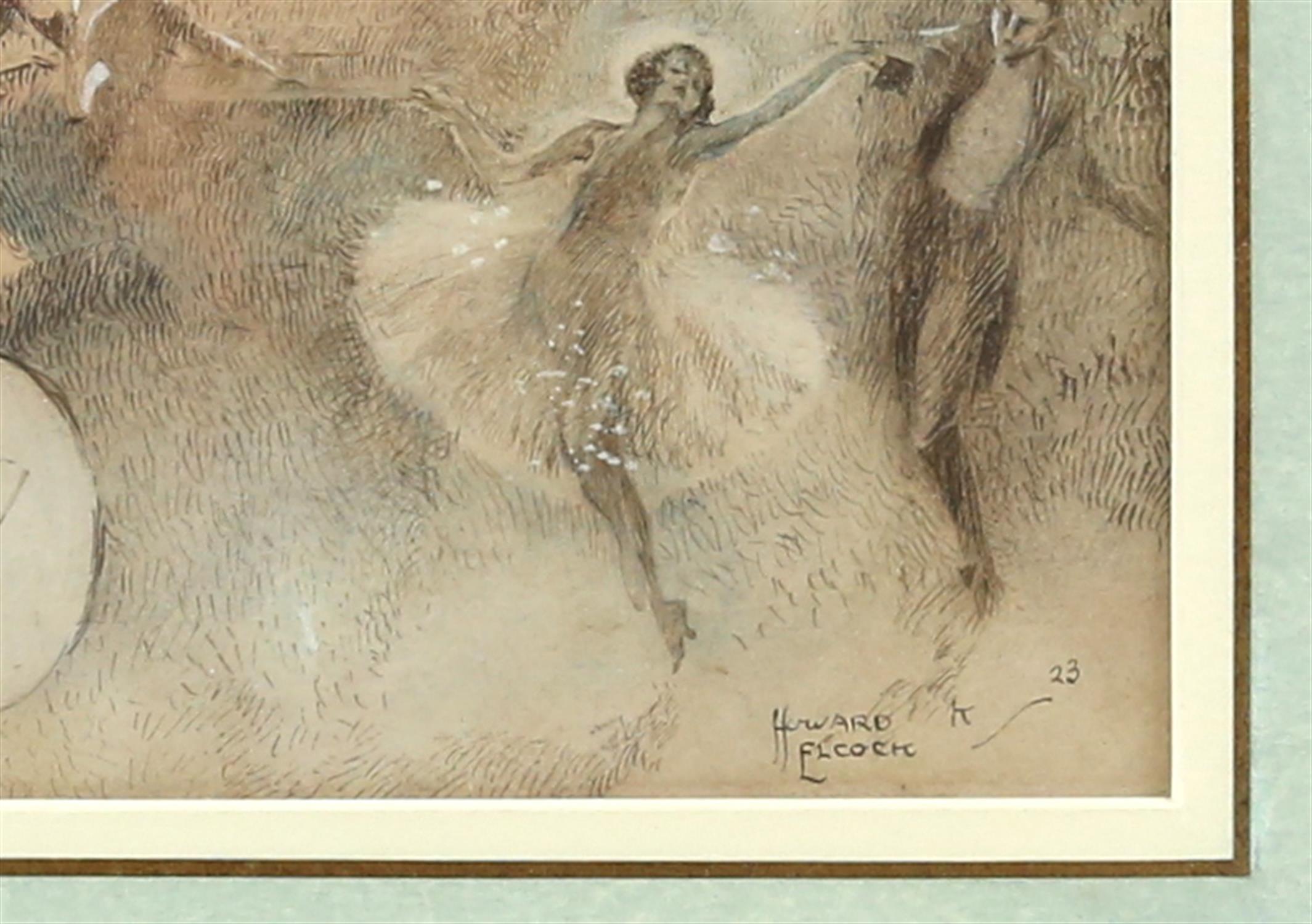 § Howard K. Elcock (British, 1886-1952). Fantasy figures partying. Watercolour 1923. - Image 3 of 4