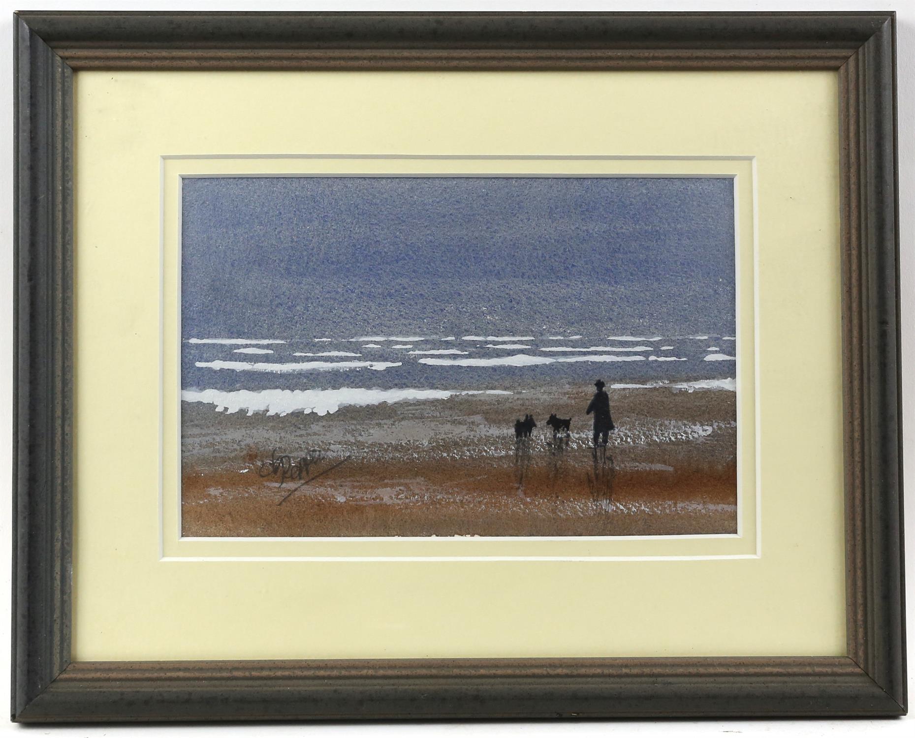 Derek Pepper, British 20th century, dog walk on the beach, signed, watercolour, 13.5cm x 21cm, - Image 2 of 4
