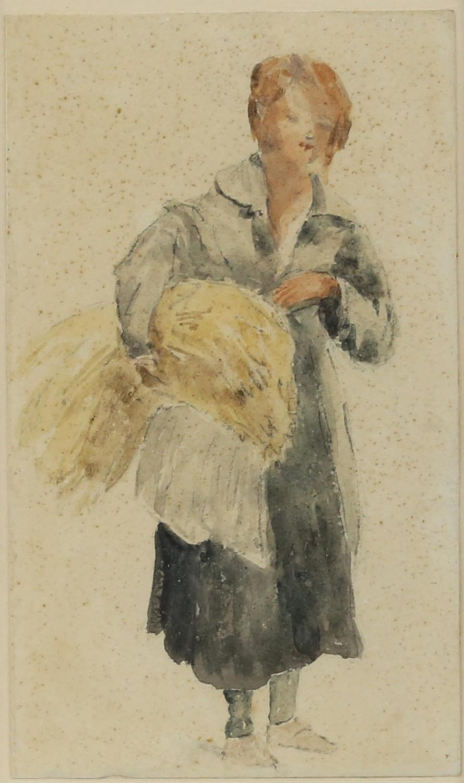19th century English School, young woman carrying a sheath of corn, watercolour, 17.5cm x 10cm,