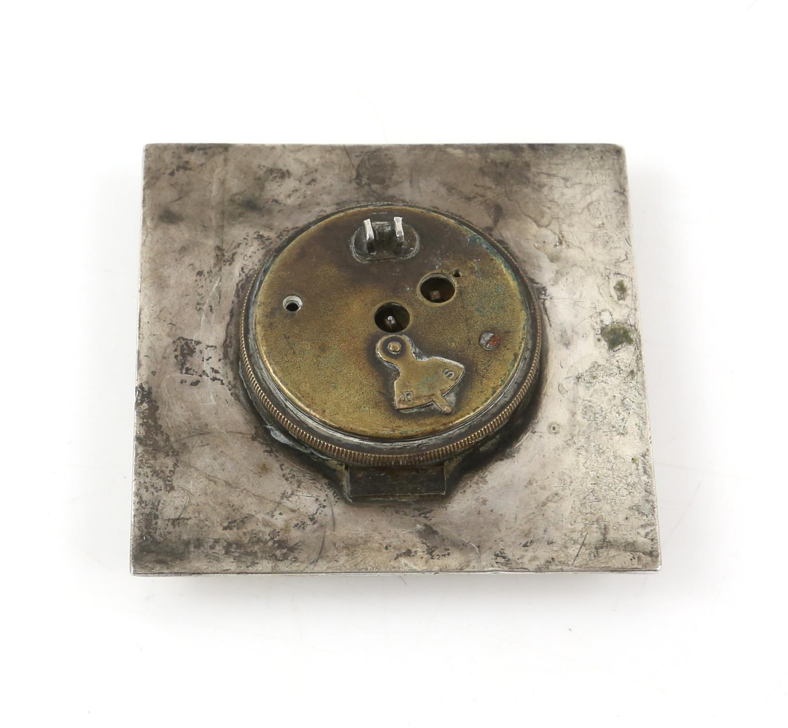 Walker and hall silver framed clock, an Indian silver white metal desk top card holder and a - Image 8 of 8