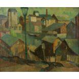 Clifford Charman, (British 1910-1993), 'English Town', oil on canvas, 46cm x 57cm,
