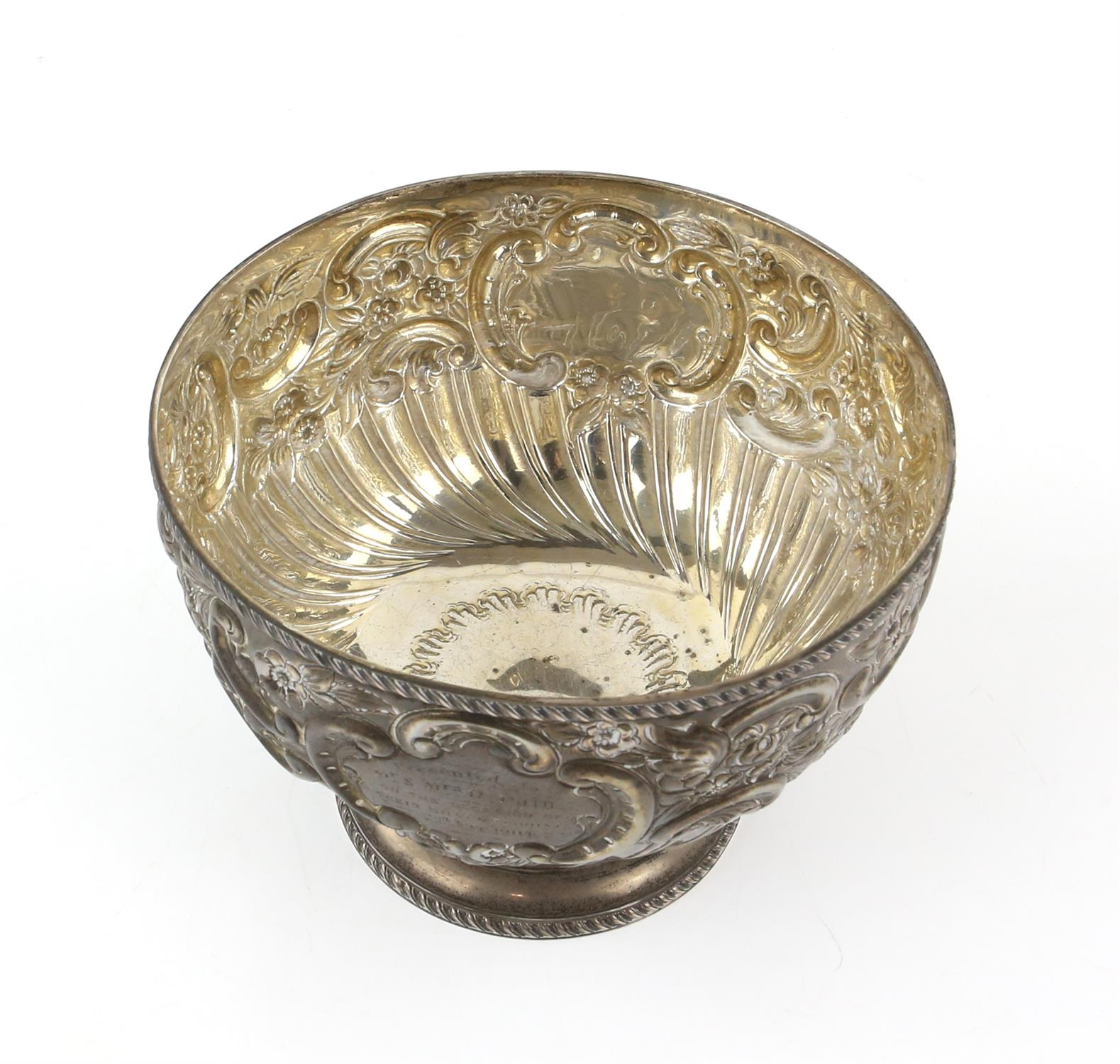 Edward VII silver presentation footed bowl of circular form with floral repousse decoration and - Image 5 of 7