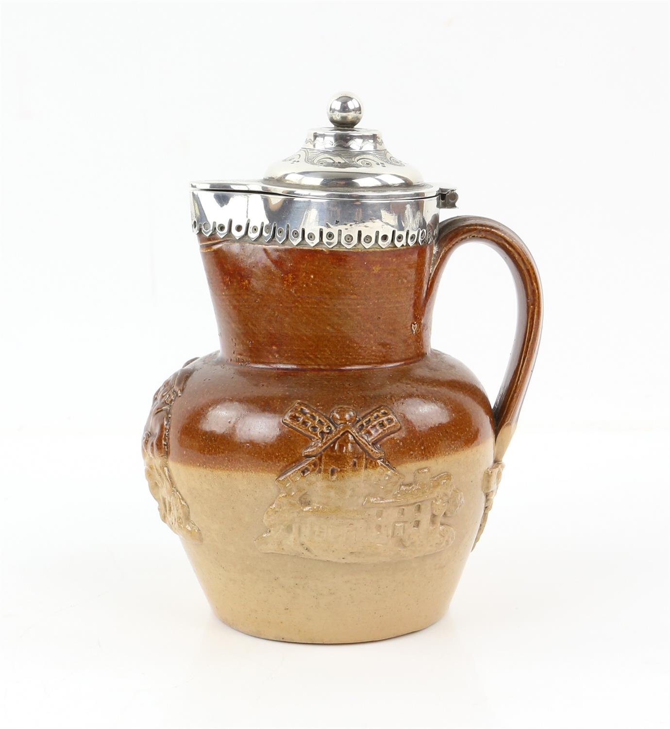 Silver mounted Victorian harvest jug by Thomas Prime and Son, Birmingham 1872