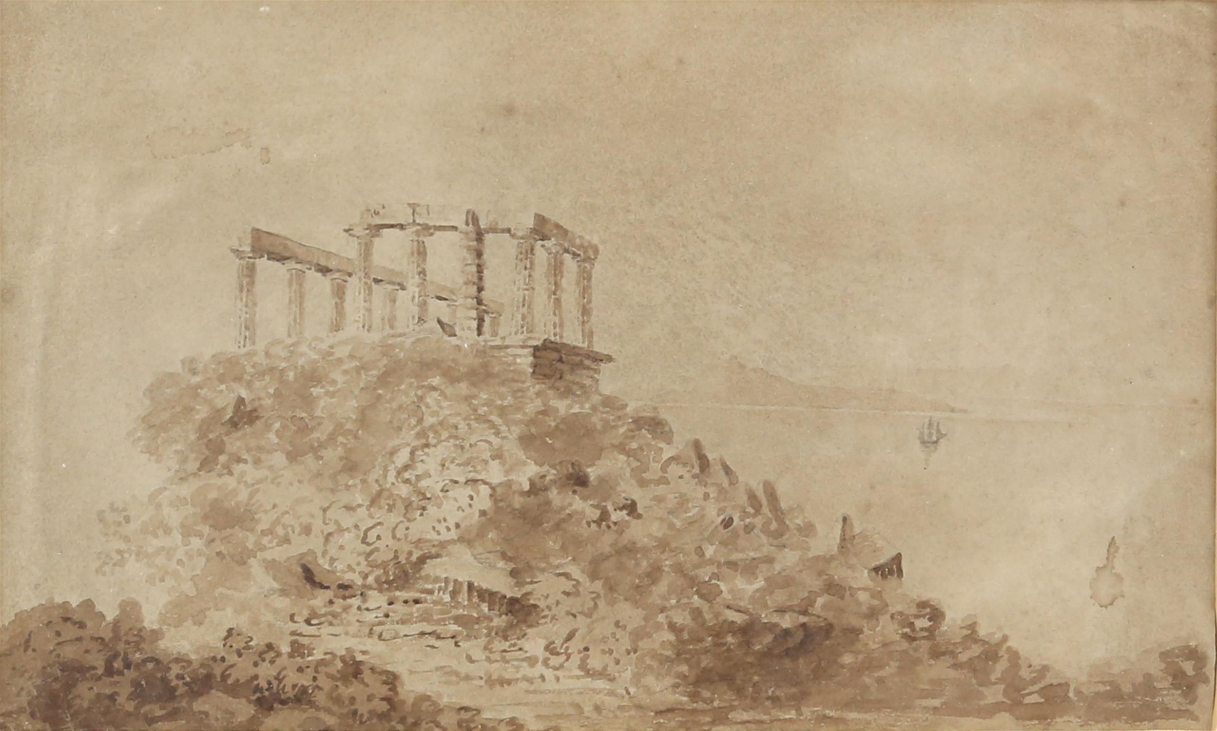 19th century English School, temple of Poseidon, sepia wash, 18cm x 30cm,